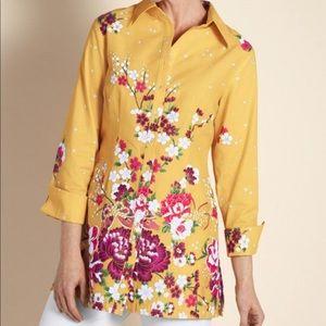 Soft Surroundings Emiko Yellow Floral Tunic Top